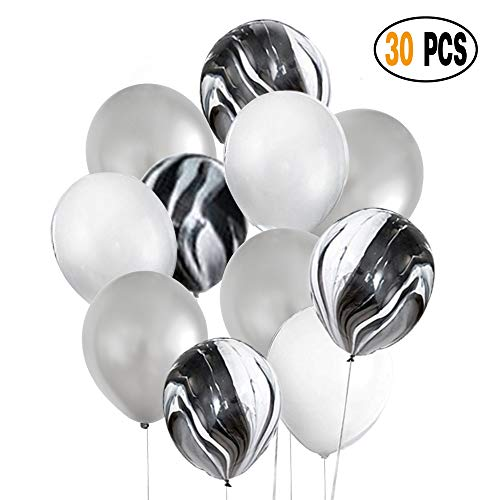 DIvine 30 Pcs 12 Inch Black Silver White Balloons Set, Black Agate Marble Tie Dye Swirl Balloons, Silver and White Latex Balloons for Birthday Party Decorations Wedding Baby Showers Graduation