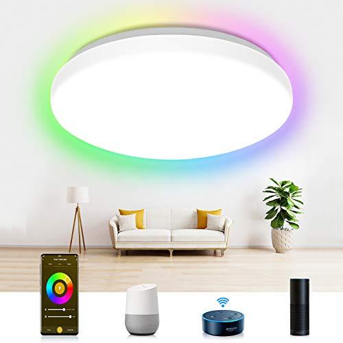 Smart LED Deckenleuchte Dimmbar, Etersky 24W Led Deckenlampe RGBW Farbwechsel, Wifi IP54 Wohnzimmerlampe Kompatibel mit Alexa/Google Home, 2000LM für Schlafzimmer Kinderzimmer Badezimmer