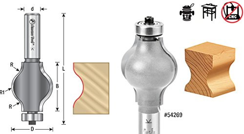 Amana Tool 54269 Handrail 1-1/4-Inch Diameter by 1-1/2-Inch Cutting Height by 1/2-Inch Shank 2-Flute Router Bit