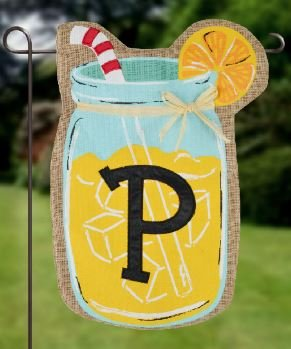 Home Garden Flags Monogram Lemonade Mason Jar Burlap Summer Garden Flag 12.5 x 18 (Letter P)