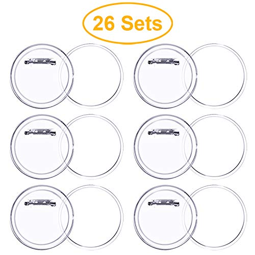 2.36 Inch Acrylic Design Button Clear Button Badges Button Pins Make Your Own for DIY Crafts(26 Sets)