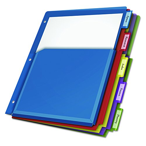 Cardinal Expanding Pocket Poly Divider, 5-Tab, Multi-Color (84012CB) (5 Translucent Tab Divider Color)