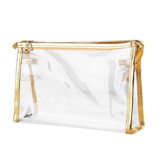 Creazy Zipper Purse Bag, Clear Transparent Plastic PVC Travel Cosmetic Make Up Toiletry Bag (Gold) ()