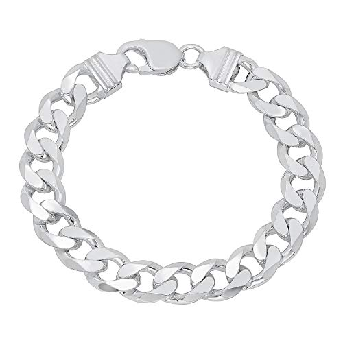 Verona Jewelers Sterling Silver Italian Curb Cuban Link Chain Bracelet for Men 7.5MM 8MM 9.2MM- 925 Sterling Silver Bracelet for Men, Silver Cuban Link Chain (11MM-8Inch) (Silver Bracelet Italian Mens)
