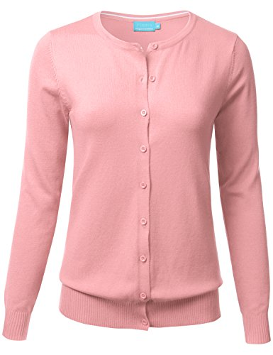 FLORIA Women Button Down Crew Neck Long Sleeve Soft Knit Cardigan Sweater Peach 3XL