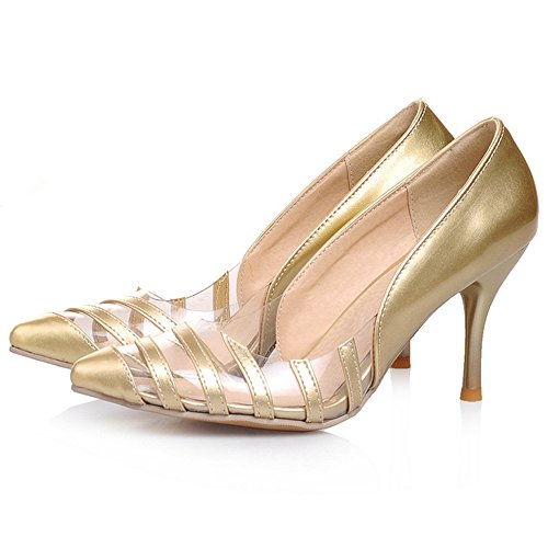 JOJONUNU Pumps Heel Women High Gold Shoes Fashion rS1rxqw