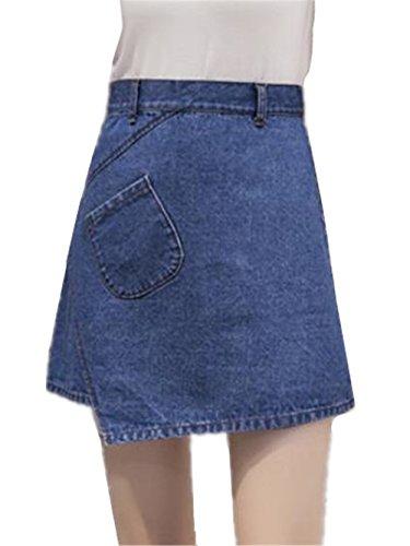 Amincissante Jean Taille A Jupe Irrgulier Femme Dark Fashion Court Line Haute en Jupe Jupe Jupe Femelle en t Haililais Blue1 Jupe OP0q8CCx