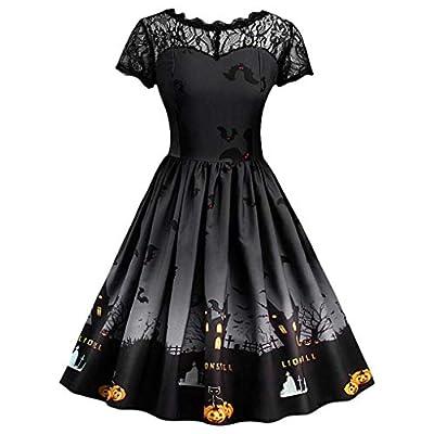 DongDong 2018 Womens A Line Dress, Halloween Retro Lace Vintage Pumpkin Short Sleeve Swing Dress