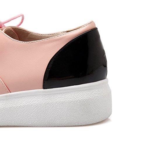 Allhqfashion Dames Lace-up Pu Ronde Neus Lage Hakken Diverse Kleuren Pumps-schoenen Roze