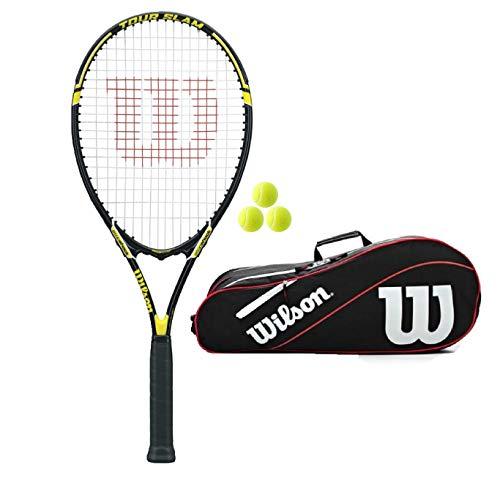 Wilson Tour Slam Adult Tennis Racquet (Bundle Options) (Racket + Bag + Balls, Black/Yellow)