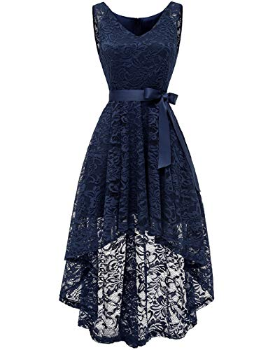 BeryLove Women's Floral Lace Hi-Lo Bridesmaid Dress V Neck Cocktail Formal Swing Dress BLP7018NavyXL]()