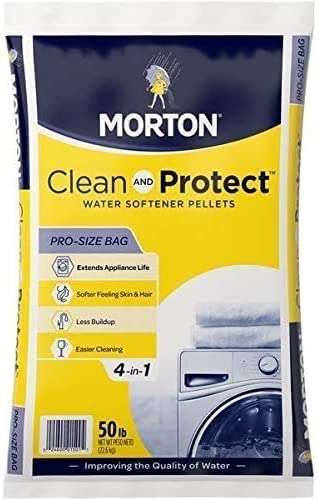 Morton Salt 1501 Clean Protect System Water Softener, 50 lbs, White, 50 lbs (4, 50 lb, White)