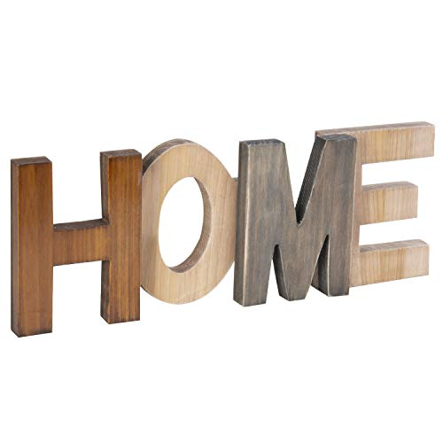 MyGift Rustic Brown Wood Home Cutout Decorative Sign