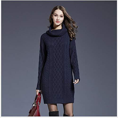 Suéter Clothing De Cuello Espesar Suelta Alto Mujeres Caliente m Xmdnye Las Manga Señora Invierno Vestido Sólido Larga Punto XEa7wd
