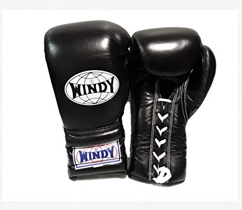 WINDY Boxing Gloves lace up BGL 16 oz Black Muay Thai Kickboxing MMA K1 Sparring Training Gloves]()