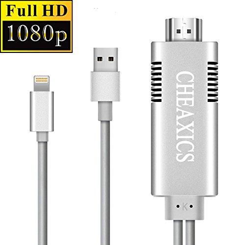 Lightning to HDMI,iPhone HDMI Adapter,Apple HDMI Adapter 1080P Digital AV Adapter HDTV Cable for Phone 8/7/6/5 Series,iPad Air/mini/Pro,projector support IOS 11.0,Plug and Play(Silver)
