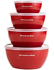 KitchenAid Prep Bowls with Lids, Set of 4, Red
