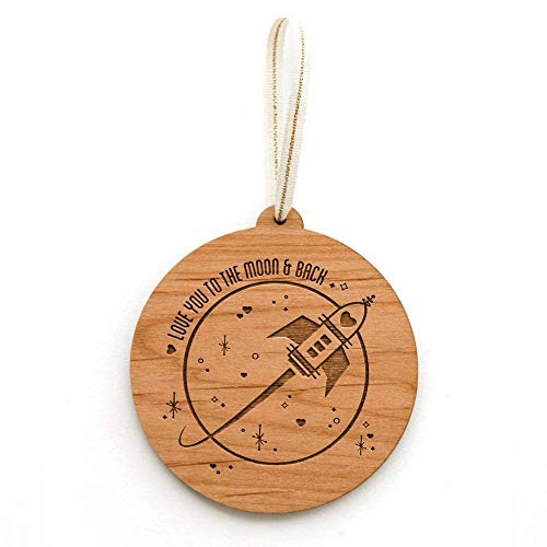 Love You to the Moon and Back Laser Cut Wood Ornament (Christmas/Holiday / Love/Anniversary / Newlyweds/Keepsake)
