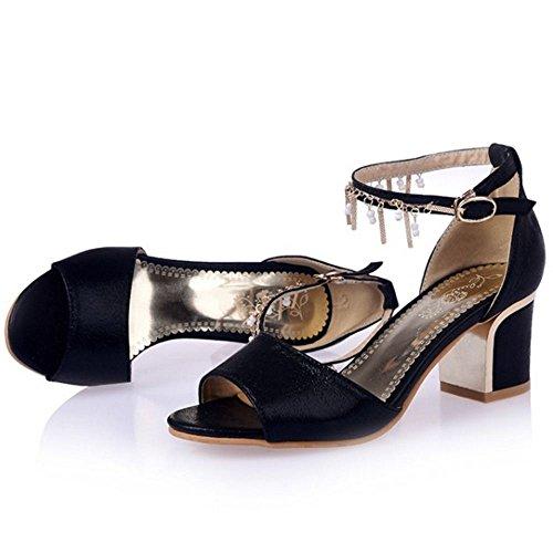COOLCEPT Zapato Mujer Resplandecer Cadenas Punta Abierta Chunky Tacon medio Al Tobillo Sandalias Negro