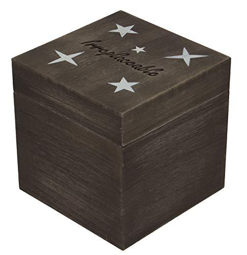 CoreDP Wooden Decorative Keepsake Box, 5x5x5 inches, Modern Rustic Faded Gray Color with Star Design [Keepsake Box/Trinket Box/Deocrative Jewelry Box]]()