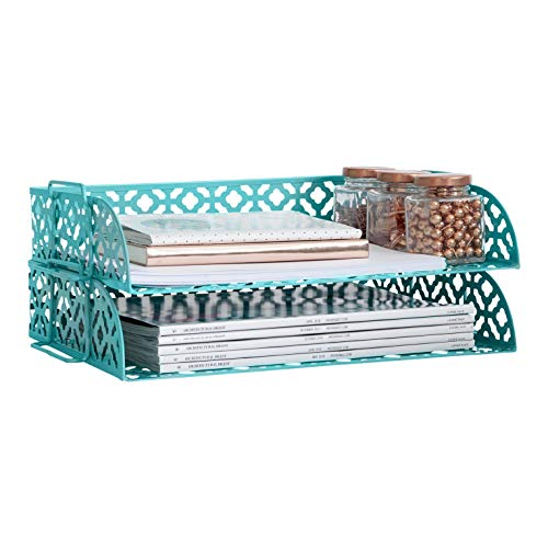 Blu Monaco Teal Desk Organizer Stackable Paper Tray Set of 2 - Metal Two Tier Tray - Stackable Letter Tray - Inbox Tray for Desk