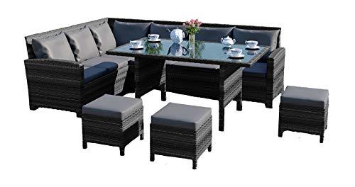 Abreo 9 Seater Rattan Corner Garden Dining Set Furniture INCLUDES...