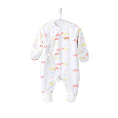 COBROO Baby Bodysuit Footies with Mitten Cuffs Clouds Pattern Long Sleeve 100% Cotton Onesies for 0-3 Months