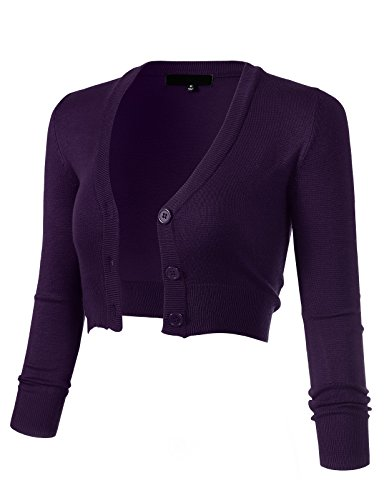 ARC Studio Women's Solid Button Down 3/4 Sleeve Cropped Bolero Cardigans 1XL Grape CO129 - Cropped 3/4 Sleeve