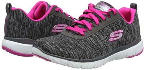 Skechers Women's Flex Appeal 3.0 Sneaker, Black hot Pink, 5 M US