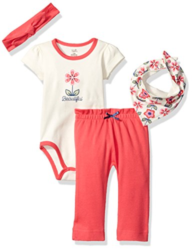Touched by Nature Baby Organic Layette Set 4-Piece, Flower, 0-3 Months