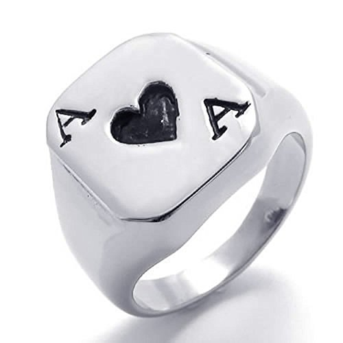 (ANAZOZ His Stainless Steel Fashion Jewelry Men's Rings Band A Hearts of The Ace of Spades Biker Ring Black 16mm Size 9)