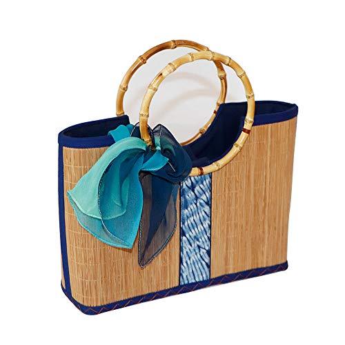 (YO-Bamboo Bamboo Handbag for Women, Handmade Bamboo Purse Clutch Tote Summer Straw Beach Bag (Pattern#5))