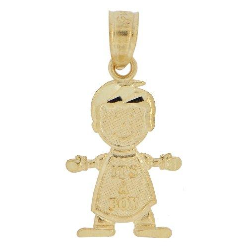 14k Yellow Gold, Mini Size Baby Boy Pendant Charm Its A Boy ()