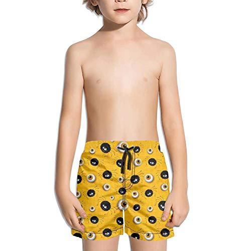 Halloween Spider Eyes Yellow Toddler Little Boys Swim Trunks Quick Dry Water Beach Board Shorts ()