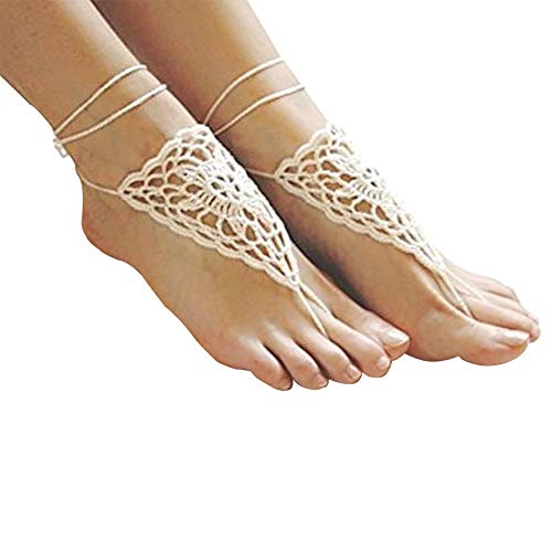 LGEGE 2 pcs Crochet Barefoot Sandals,Anklet, Bridesmaid Accessory, Yoga Shoes, Foot Jewelry, Beach Accessory, Nude Shoes
