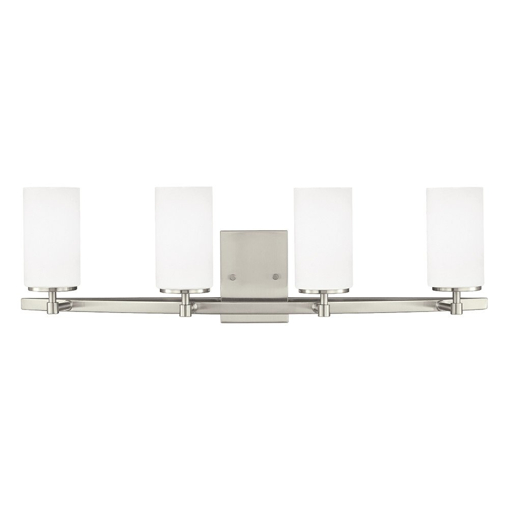 Sea Gull Lighting 4424604-962 Alturas Four Bath or Wall Fixture with Etched White Inside Glass Shades, Brushed Nickel Finish