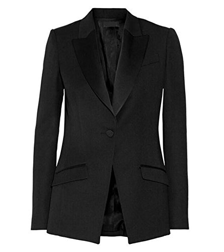 Tuxedo Jacket Peak Breasted Double (Women's Peak Lapel Black Business Suits 2 Pieces Double Breasted Wedding Groom Tuxedos L)