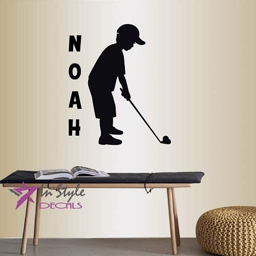 Wall Vinyl Decal Home Decor Art Sticker Little Boy Playing Golf Customized Name Sport Kids Bedroom Nursery Room Removable Stylish Mural Unique Design 2323