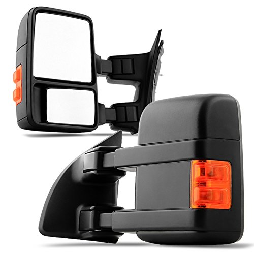 For 2008-2016 Ford SuperDuty Pickup Truck Extendable Towing Manual Mirrors Left + Right Side Pair Set Replacement