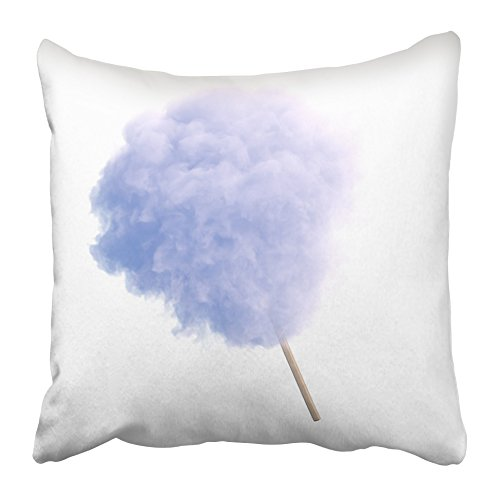 Emvency Throw Pillow Covers Cases Decorative 20x20 Inch Blue Floss Cotton Candy on Wooden Stick White Sugar Light Party Cloud Confection Two Sides Print Pillowcase Case Cushion ()