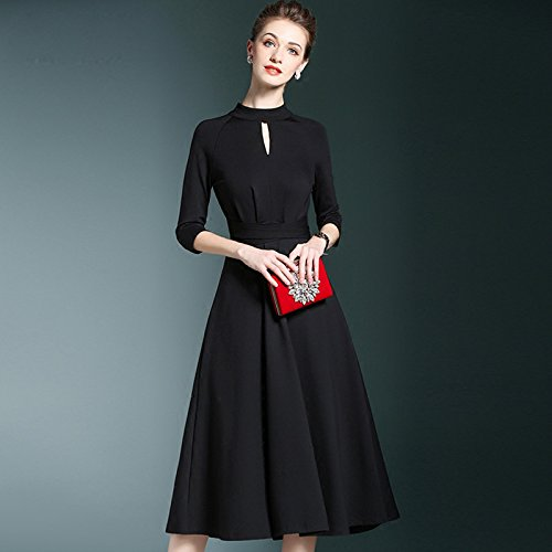ZHUDJ Otoño Invierno Vestidos Vestido _ Temperamento Elegante Funda Pequeña Parte Negra black