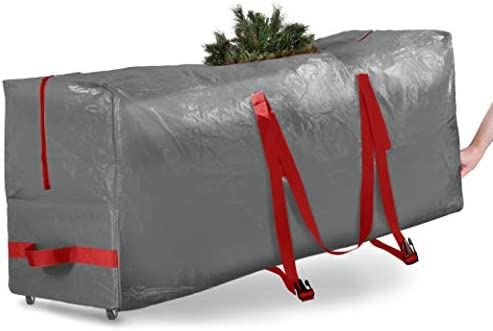 Rolling Large Christmas Tree Storage Bag - Fits Up to 7.5 toes. Artificial Disassembled Trees, Durable Handles & Wheels for Easy Carrying and Transport - Tear/Waterproof Polyethylene Plastic Duffle Bag