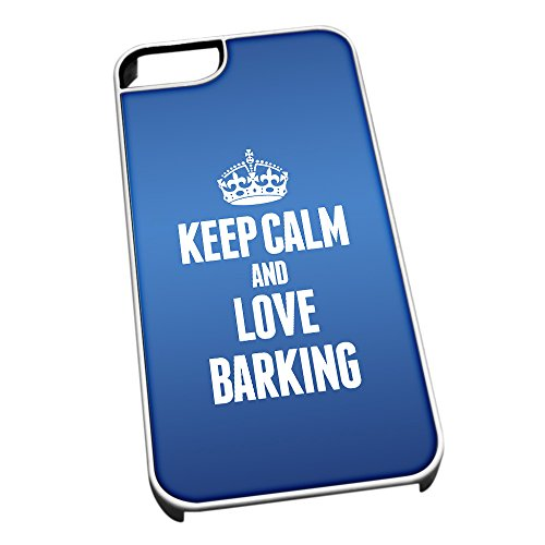 Bianco cover per iPhone 5/5S, blu 0039 Keep Calm and Love Barking