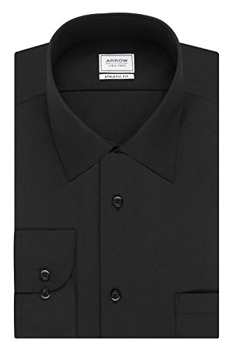 Arrow Men's Poplin Athletic Fit Solid Spread Collar Dress Shirt, Deep Black, 18-18.5