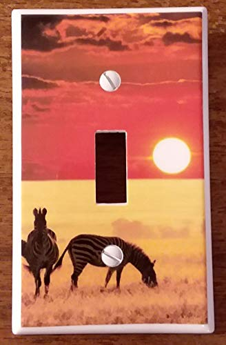 (Single Toggle (1-toggle) Light Switch Plate Cover - African Wildlife Safari Animals - Africa Zebras Sunset)