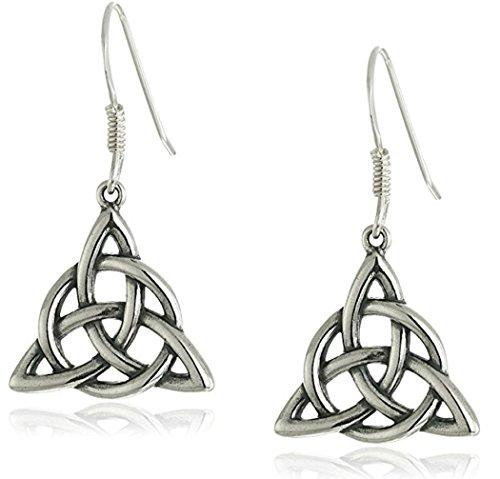 Love Knot Dangling Earrings - Sterling Silver Dangle Earrings, Celtic Triquetra Knot Triangle Drop Earrings #SSE35