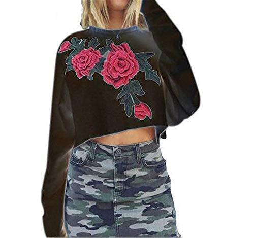 Collo Elegante Sweatshirts Autunno Rotondo Camicetta Relaxed Rose Abbigliamento Crop Felpe Tempo Primaverile Lunghe Moda Top Magliette Ragazze Giovane A Libero Shirts Donna Camicia Schwarz Maniche Ew41qv