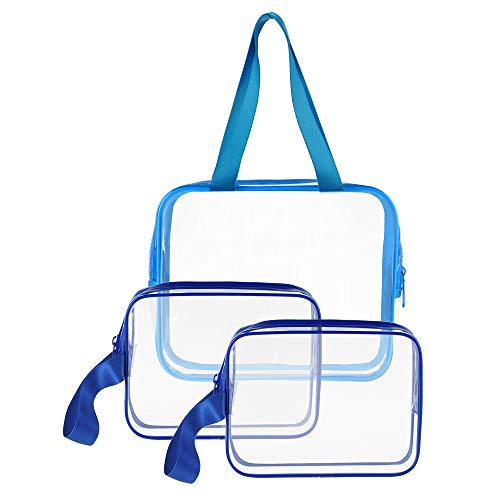 - 3pcs/pack Clear Cosmetic Bag TSA Approved Travel Toiletry Bag Set with Zipper Vinyl PVC Make-up Pouch Handle Straps for Women Men, Sariok Waterproof Packing Organizer Diaper Pencil Bags (Blue)