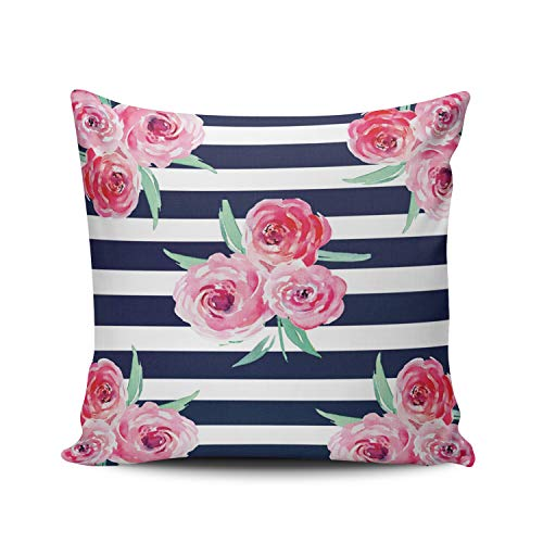 (ONGING Decorative Throw Pillow Case White Pink and Navy Blue Floral Pillowcase Cushion Cover One Side Design Printed Square Size 16x16 inch)