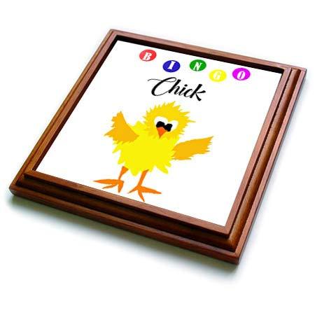3dRose All Smiles Art Sports and Hobbies - Funny Bingo Chick Playing Bingo Cartoon - 8x8 Trivet with 6x6 ceramic tile (trv_288050_1)